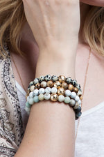 Load image into Gallery viewer, Natural Stone Stretch Bracelet // Dalmatian