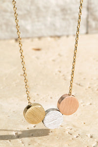 Brass Circle Charm Necklace // Multicolor