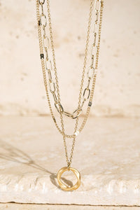 Brass Ring Charm Layered Necklace // Gold