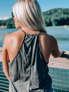 Just South of Lilly High Neck Tank // Charcoal