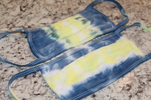 Tie Dye Face Mask // Navy Yellow