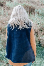 Load image into Gallery viewer, Fuzzy Knit Vest // Navy