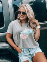 Load image into Gallery viewer, Lilly State of Mind Short Sleeve Crop Tee // Smoke Grey