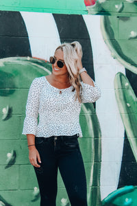 Polka Dot Party 3/4 Sleeve Top // Ivory