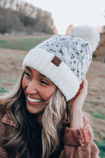 Load image into Gallery viewer, Frozen Kisses Fleece Lined Knit Beanie // Ivory