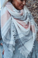 Load image into Gallery viewer, Plaid Romance Blanket Scarf // Blush