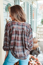 Load image into Gallery viewer, Cold Brew Kisses Plaid 3/4 Sleeve Top // Brown