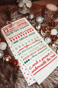 12 Days Of Christmas Holiday Towel