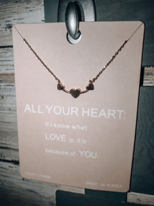 Silver & Gold Dipped Heart to Heart Necklace