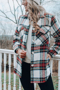 Winter Thrills Plaid Shacket // Ivory Red