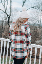 Load image into Gallery viewer, Winter Thrills Plaid Shacket // Ivory Red