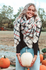 Load image into Gallery viewer, Plaid Blanket Scarf // Beige