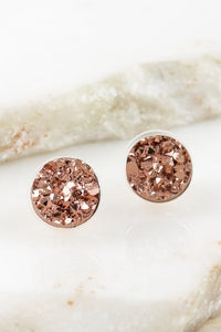 Round Druzy Post Earrings // Rose Gold