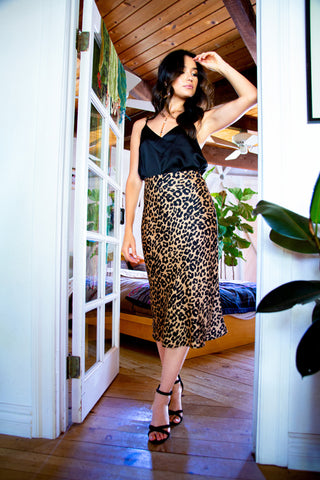 Catch You Later Leopard Midi Skirt