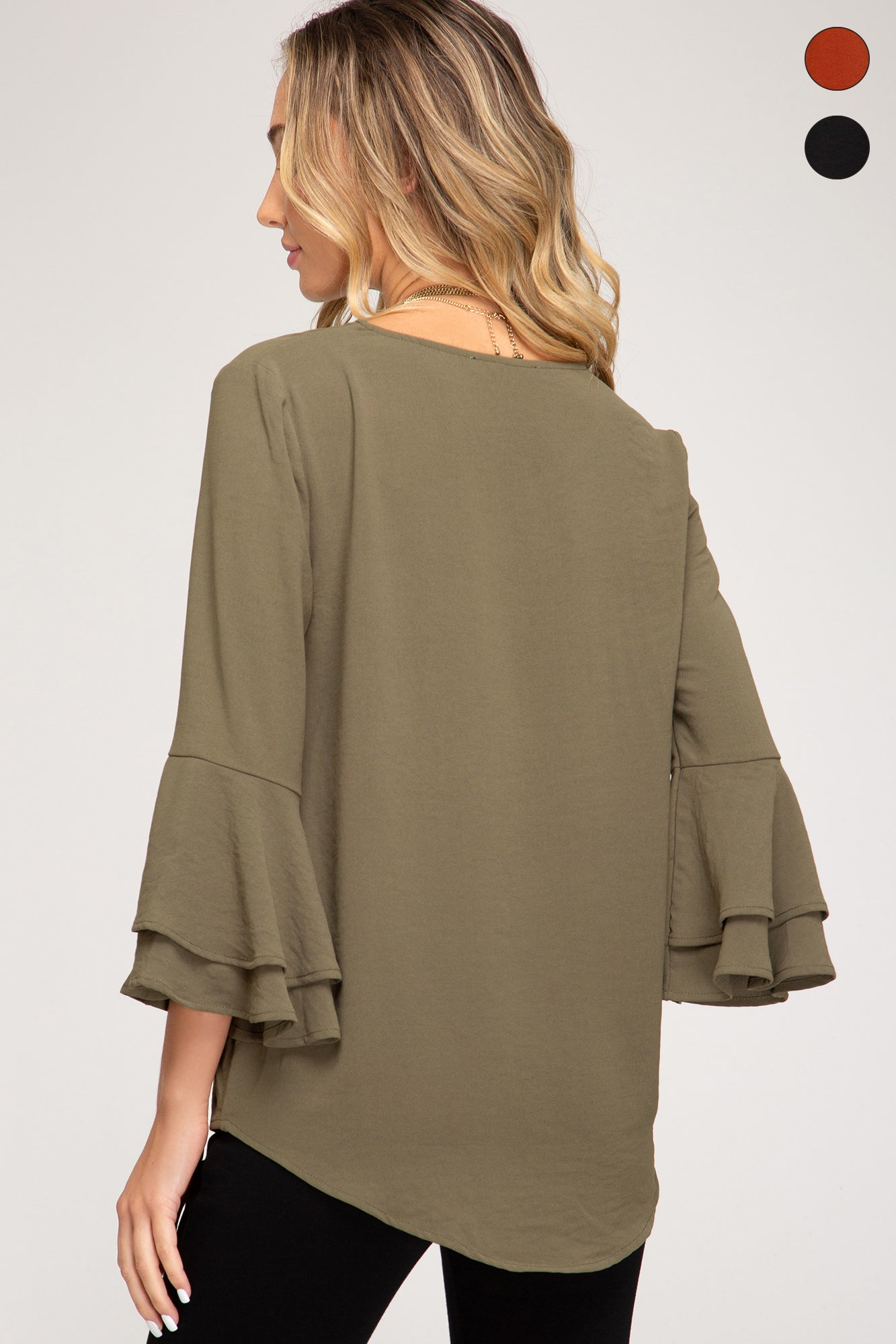 Bell 3/4 Sleeve Top // Olive