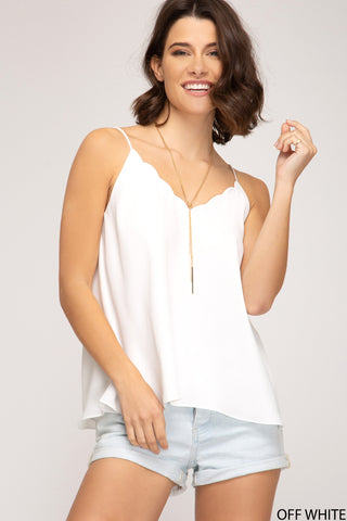 Summertime Sweetheart Scallop Tank Top