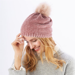 Load image into Gallery viewer, Chenille Pom Pom Beanie - SALE