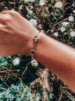 Load image into Gallery viewer, 14k Dainty Gemstone Bracelet // Smokey Grey
