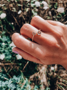 14k Dainty Gemstone Ring // Smokey Grey
