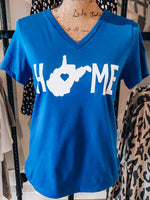 Load image into Gallery viewer, WV is Home Short Sleeve V-Neck Top // Royal