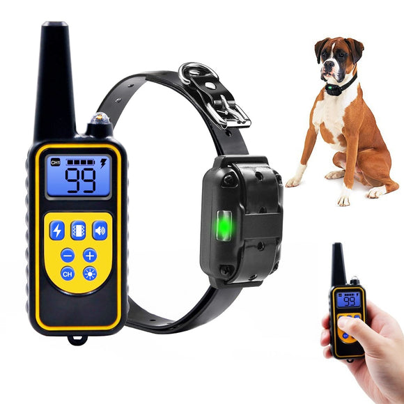 Dog Electric Collar 800m Pet Remote Control Collar Dog Training Collar Waterproof Rechargeable With LCD Display For All Size