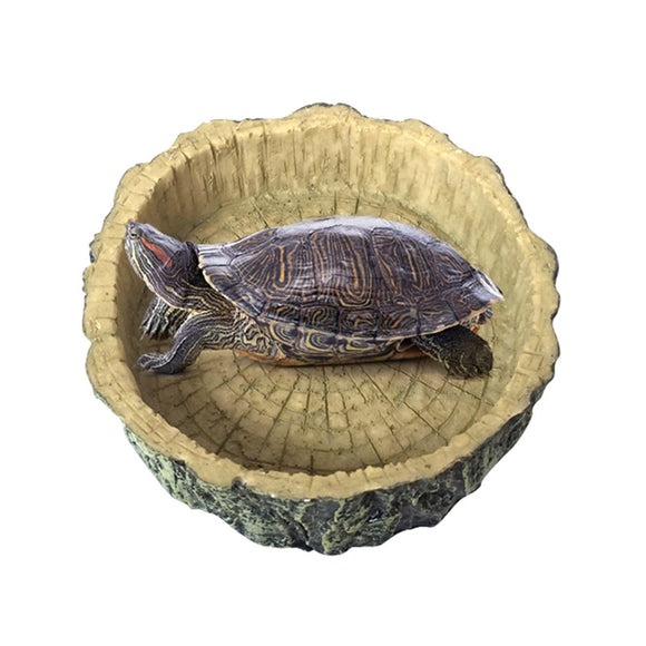 Turtle Feeder Food Water Feeding Bowl Resin Amphibians Reptile Scorpion Reptiles Food Bowl Aquarium Ornament Accessories