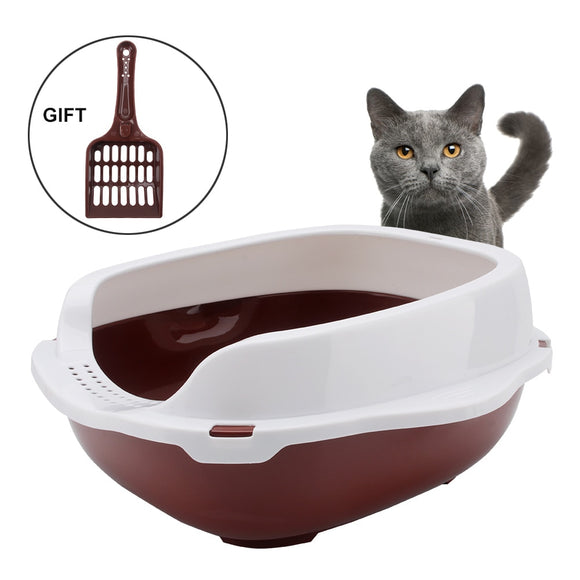 Cat Litter Box Semi-closed Cat Sandbox Toilet for Pet Cat Training Toilet 37x31x17cm Cat Litter Tray with Litter Shovel Gift