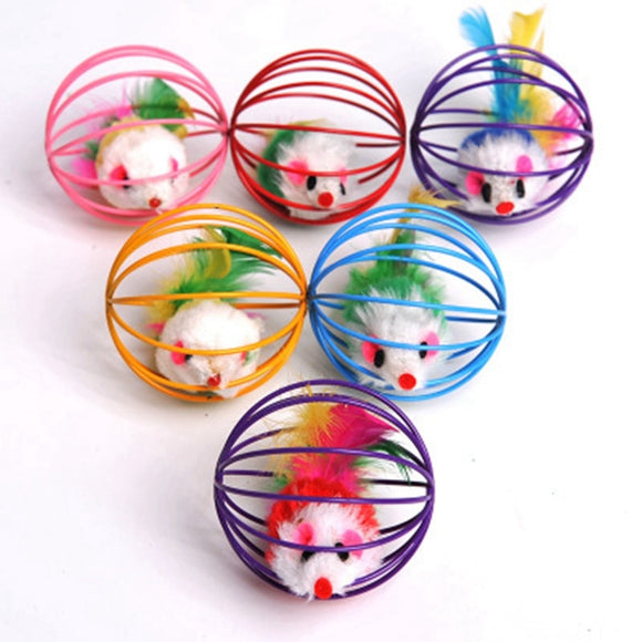 Goods For Pets Cats Mice Toy For Kitty 2019 Funny Mice In the Iron Cage Toys For Cats Fleece Fur Mouse Ball Cat Toy Pet Supplies
