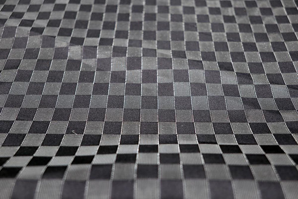 the checkered pattern of lucent nylon and pure silk fabrics