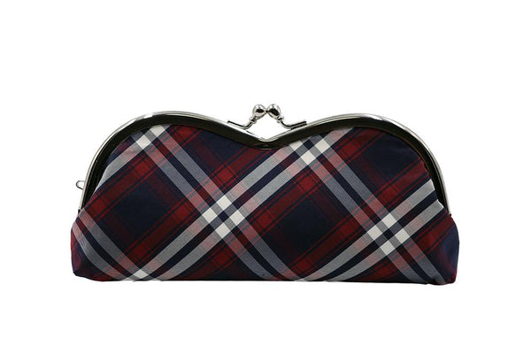 Nishijin brocade pile type glasses case tartan check front