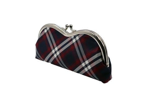 Nishijin brocade pile type glasses case tartan check tilt