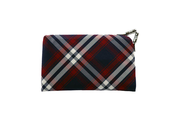 clasp type card case tartan check front