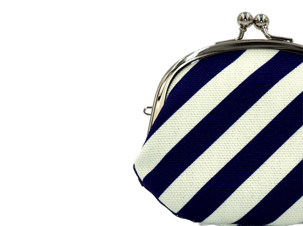 coin purse stripe navy strap hole