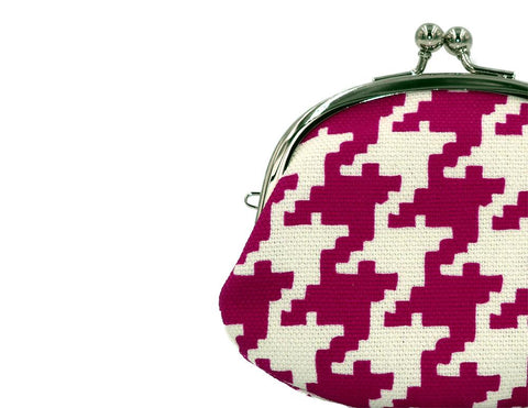coin purse hound's-tooth check pink strap hole