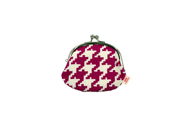 coin purse hound's-tooth check pink front