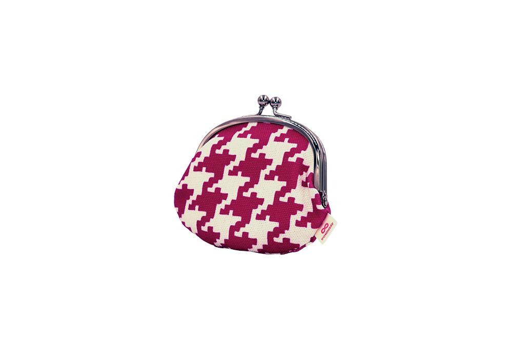 coin purse hound's-tooth check pink tilt