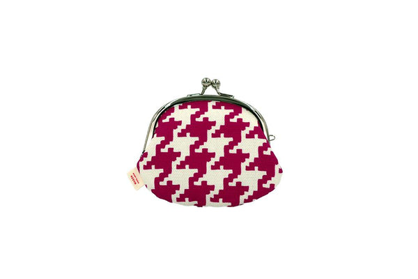 coin purse hound's-tooth check pink backside