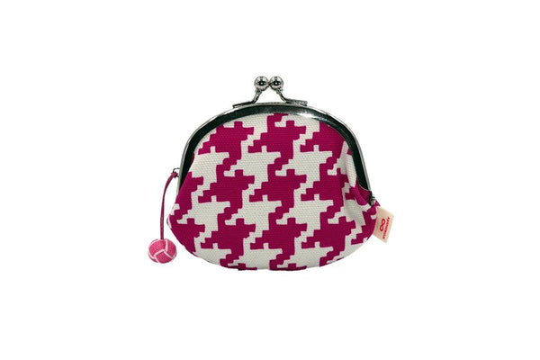 coin purse hound's-tooth check pink strap image