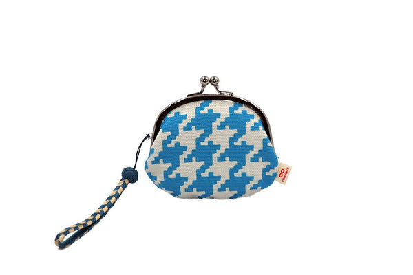 coin purse hound's-tooth check blue strap image