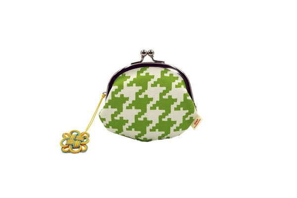 coin purse hound's-tooth check green strap image
