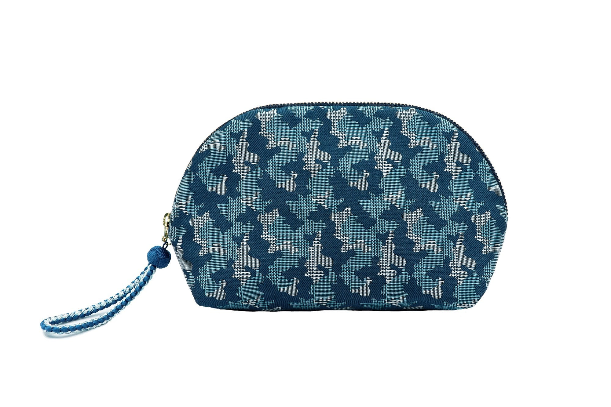 pure silk jacquard camouflage shell-shaped pouch blue front