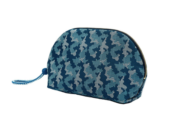 pure silk jacquard camouflage shell-shaped pouch blue tilt
