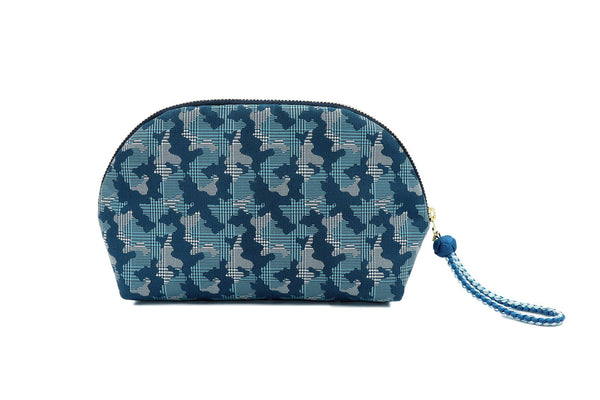 pure silk jacquard camouflage shell-shaped pouch blue back