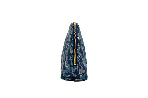 pure silk jacquard camouflage shell-shaped pouch blue side