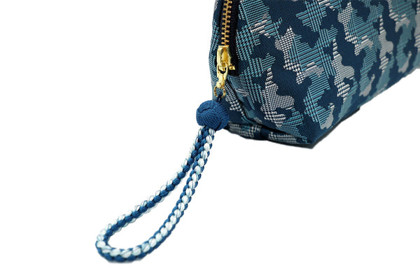 pure silk jacquard camouflage shell-shaped pouch blue pull handle