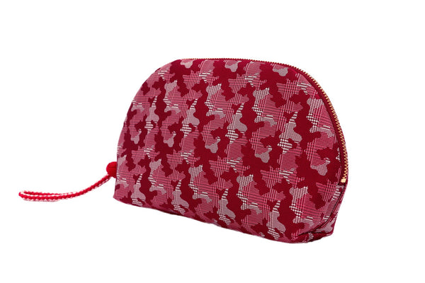 pure silk jacquard camouflage shell-shaped pouch red tilt