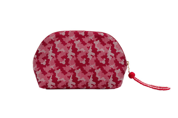 pure silk jacquard camouflage shell-shaped pouch red back