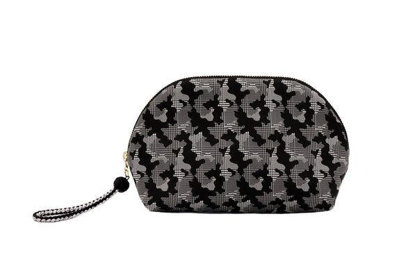 pure silk jacquard camouflage shell-shaped pouch black front
