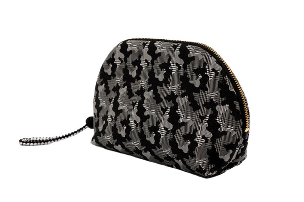 pure silk jacquard camouflage shell-shaped pouch black tilt