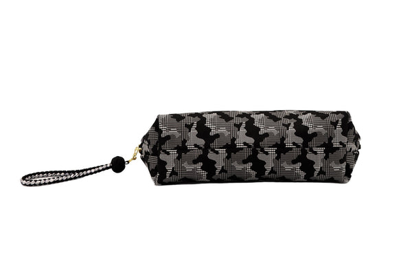 pure silk jacquard camouflage shell-shaped pouch black bottom